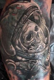 腿部欧美黑白宇航员骷髅头纹身图案