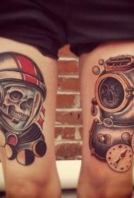 腿部彩色宇航员纹身图片
