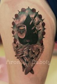 腿部神秘纹身图案