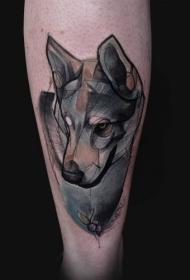 腿部素描风狼纹身图案