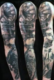 花臂黑白老式音乐主题纹身图案