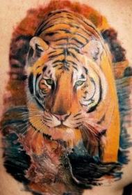 水彩老虎写实纹身图案