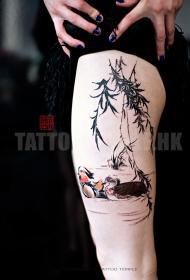 腿部水彩鸭子纹身图案