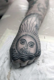 手部神秘部落风太阳纹身图案