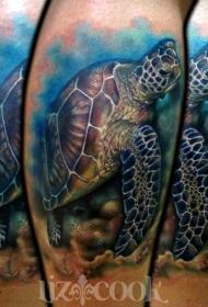 彩色海龟写实纹身图案
