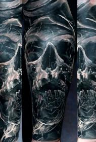 手臂黑灰骷髅与烟雾纹身图案