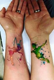 彩色水彩手腕纹身图案