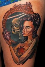 New School彩色大腿妇女与骷髅纹身图案