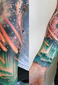 手臂彩色星空纹身图案