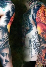 花臂彩色骷髅人物纹身图片