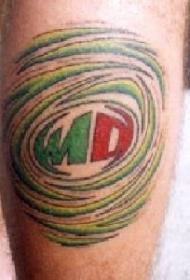 腿部彩色标志纹身图案