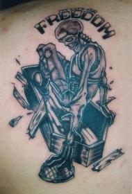 背部黑灰棺材里的骷髅纹身图案