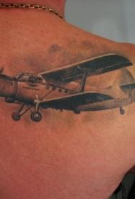 老式飞机肩胛骨纹身图案