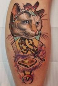腿部彩色猫和烤面包机的纹身图案