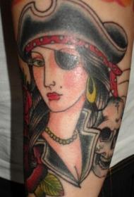手臂彩色经典海盗女孩肖像纹身图案