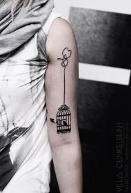 肩部黑色墨水简单鸟笼纹身图案