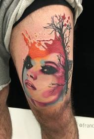 腿部彩色女人纹身图案