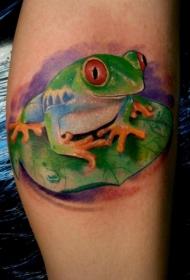 手臂彩色青蛙纹身图案