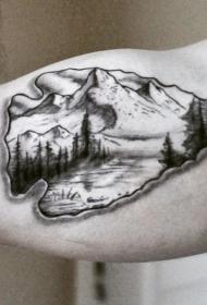 手臂黑白古箭山林纹身图案