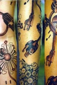 手臂蒲公英与降落伞纹身图案