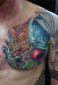 胸部彩色空间纹身图案