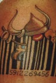 手臂彩色条形码纹身图案