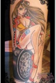 手臂old school彩色诱人的机械女子纹身