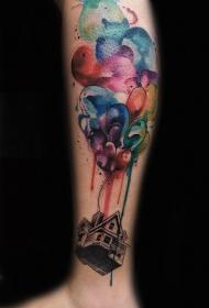 腿部水彩房子纹身图案