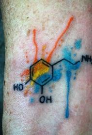 水彩风格的彩色化学配方纹身