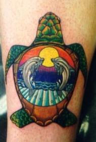 彩色海龟纹身图片