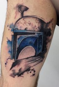 腿部水彩纹身图案