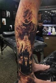 男生腿部纹身点刺技巧建筑物纹身火焰纹身图片