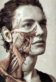 欧美帅哥头部颈部超个性树纹身图案