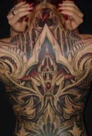女性满背漂亮的创意纹身图案