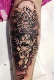 小腿上的骨架人吓到小朋友的图案纹身