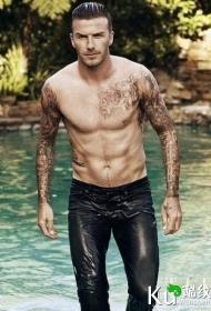 足球明星贝克汉姆帅气的手臂纹身图片