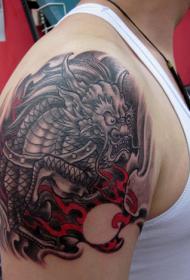 手臂麒麟彩绘刺青图案