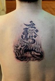 男士后背宗教大日如来纹身图案