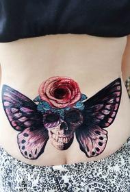 蝴蝶与骷髅玫瑰腰部纹身图案