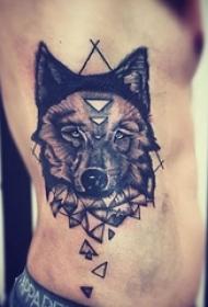 男士侧肋纹身动物几何元素纹身点刺技巧纹身图案