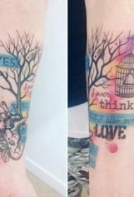 手臂彩绘纹身小树和机械心脏纹身花体英文字纹身图案