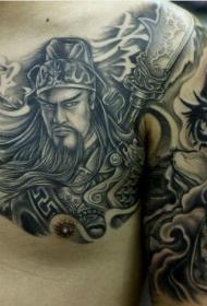 帅气的关公半甲纹身图案