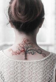 美女背部美丽精灵树纹身图案