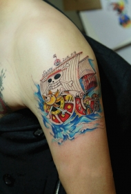 手臂海贼王桑尼号卡通彩绘纹身图案