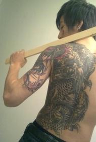 陈旭个性主流后背龙彩绘纹身图案
