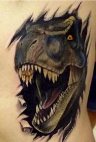 后背撕皮恐龙头部纹身图案
