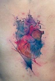 彩色水墨人体心脏纹身图案