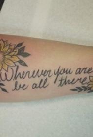 手臂上纹身植物纹身素材花朵有意义的英文纹身图片