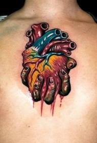 男士个性胸部手拿心脏纹身图案