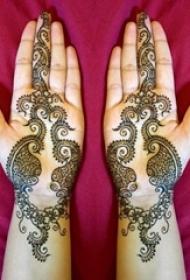 女生都喜爱的黑色线条文艺小清新唯美曼海蒂花纹纹身图案